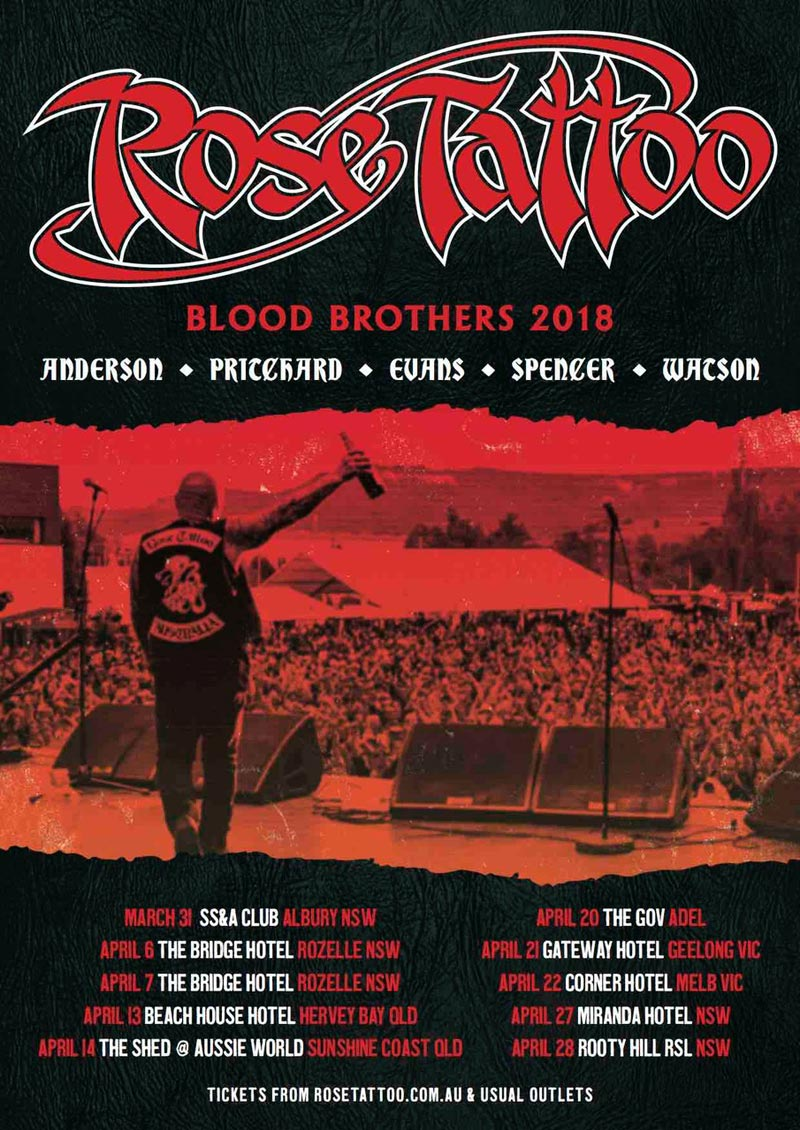 Rose Tattoo 2018 Blood Brothers Tour