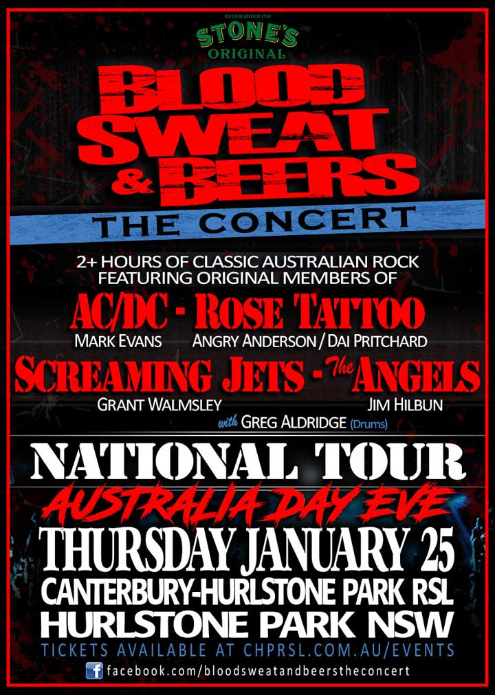 Blood Sweat & Beers Australia Day Eve Concert
