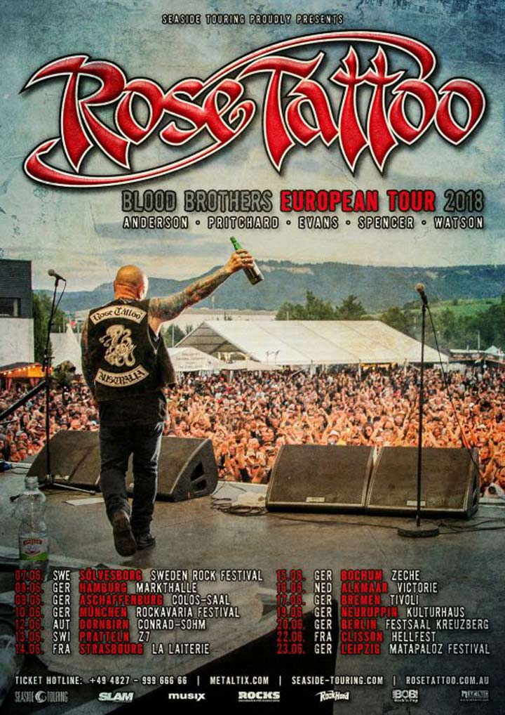 Rose Tattoo European Tour Announced & New Extra Guests Added For Upcoming Australian Tour